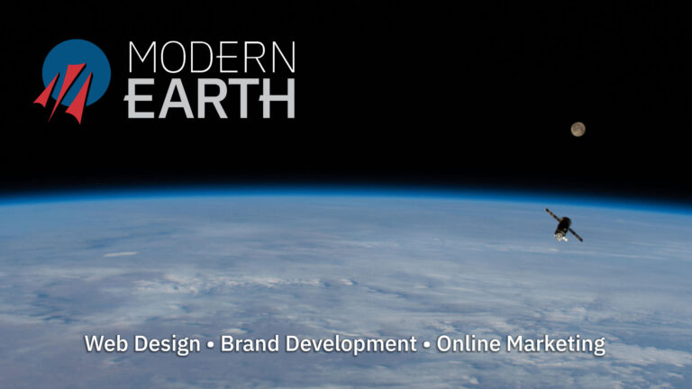 Modern Earth logo with hearth horizon and supply spaceship in background